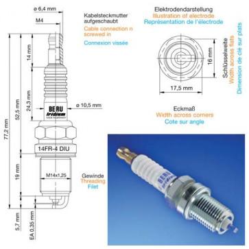 Beru Industrial Spark Plugs 14 FR-4 DIU02 - 14FR-4DIU02 (0004350911) Z212