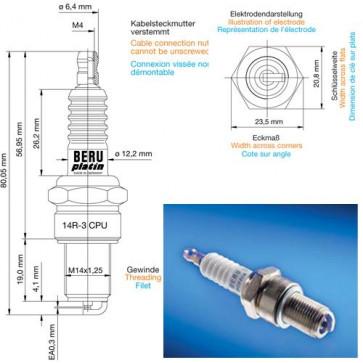 Beru Industrial Spark Plugs 14 R-3 CPU - 14R-3CPU (0004355902) Z163
