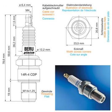 Beru Industrial Spark Plugs 14 R-4 CDP - 14R-4CDP (0004350900) Z147