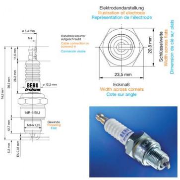 Beru Industrial Spark Plugs 14 R-5 BIU - 14R-5BIU (0004445901) Z195
