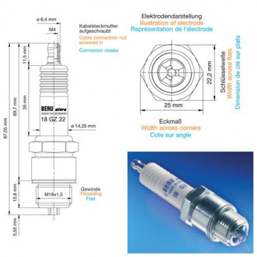 Beru Industrial Spark Plugs 18 GZ 22 - 18GZ22 (0004800504) Z182